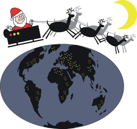 santa sleigh: Santa sleigh cartoon