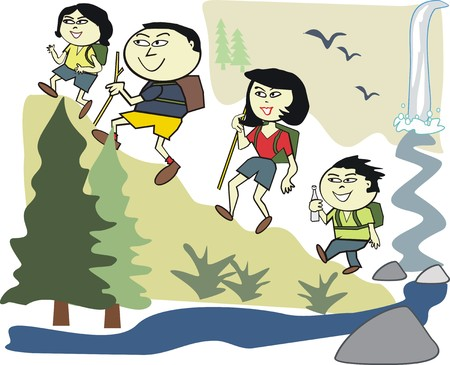 Asian family recreation cartoon Vector