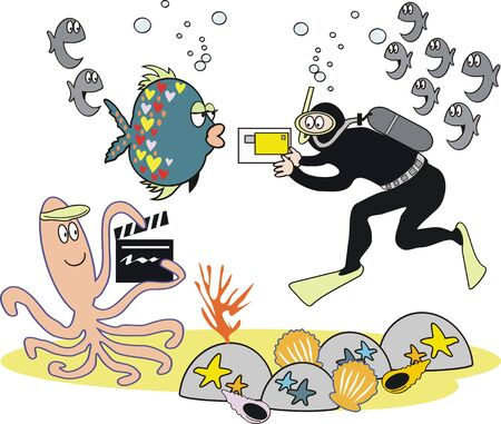 Underwater video photography cartoon Illustration