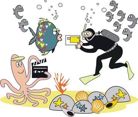 film crew: Underwater video photography cartoon Illustration