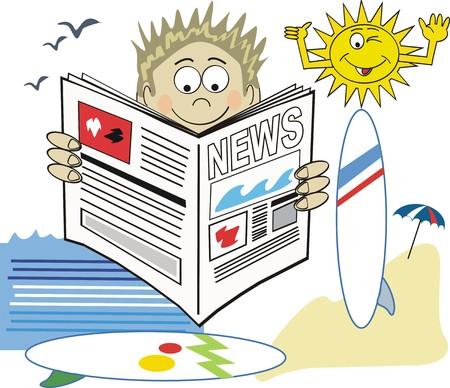 Surfing newspaper cartoon Vector