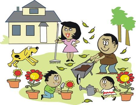 African American family gardening cartoon Stock Vector - 7512102