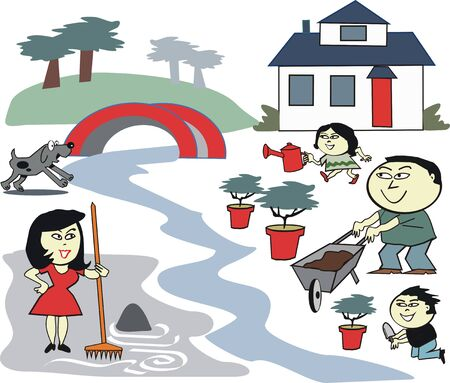 Asian family garden care cartoon Stock Vector - 7512103