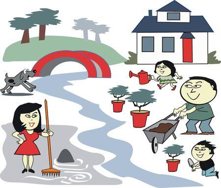 asian family: Asian family garden care cartoon Illustration