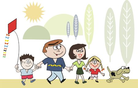 Happy family walking cartoon Vector