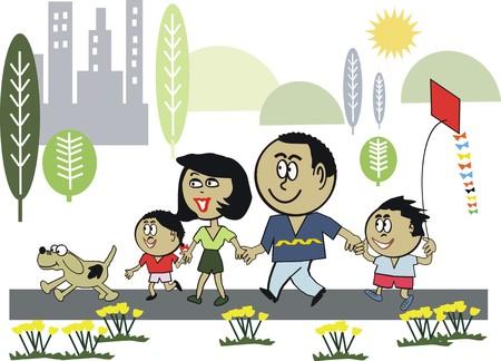 exercise cartoon: Family exercise cartoon
