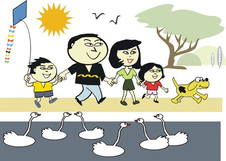 Healthy Asian family cartoon Vector