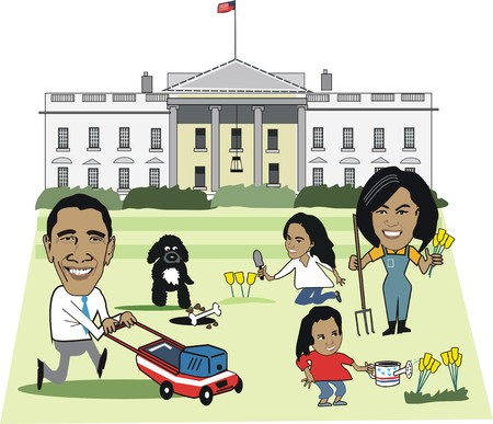 caricaturas de personas: Caricatura Editorial de familia Barack Obama  Editorial