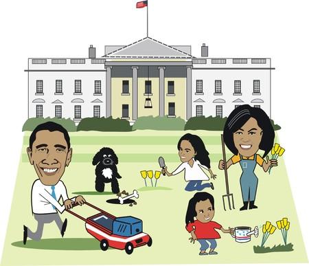 Editorial cartoon of Barack Obama family