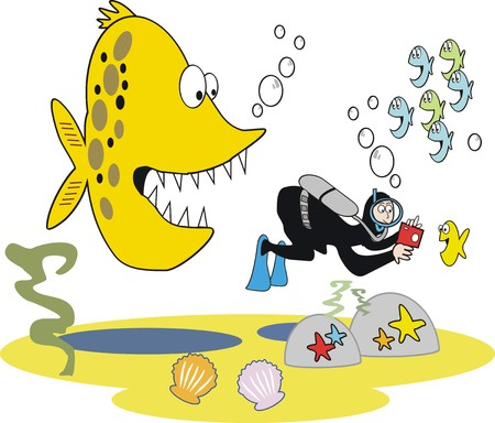 Caricatura de peces hambrientos