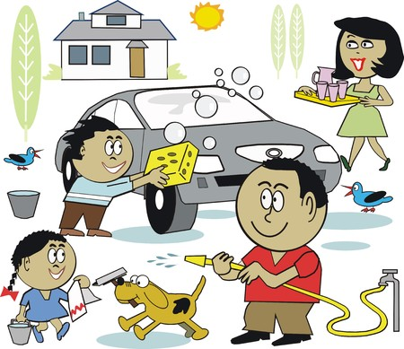 Family washing car cartoon