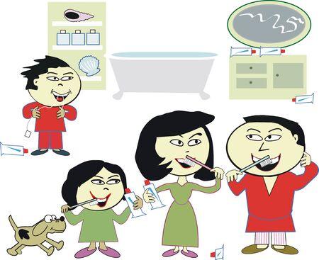 familia asiatica: Asia familia caricatura limpieza de dientes