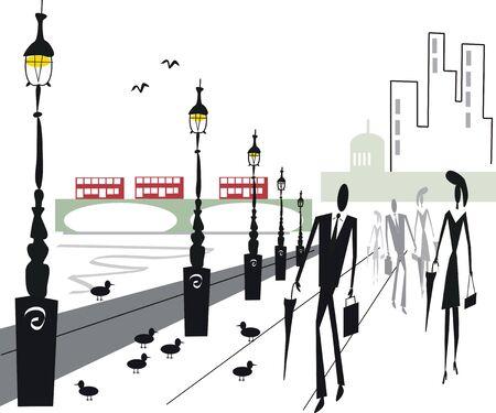 Urban commuters illustration Stock Vector - 7602652