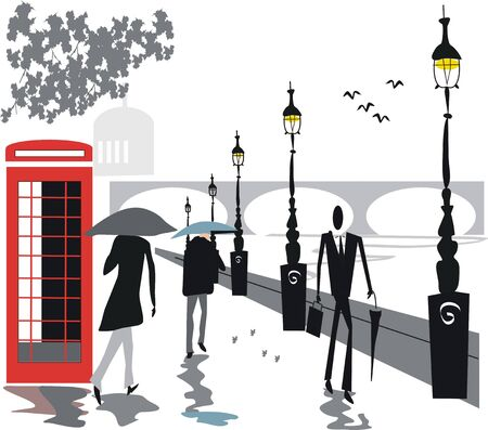 London rainy day illustration Vector