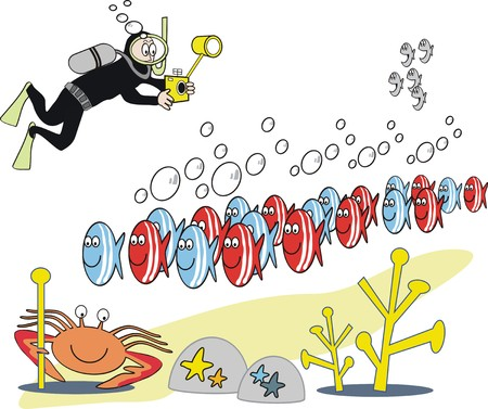 Humorous underwater cartoon Stock Vector - 7602654