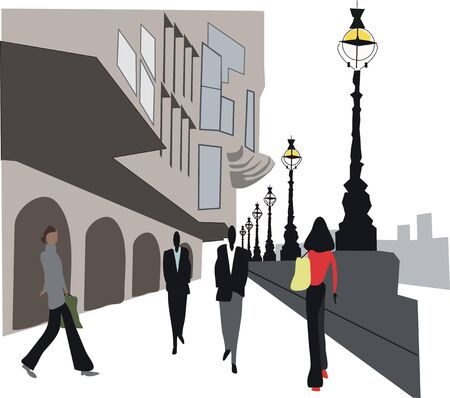 Embankment illustration, London England Stock Vector - 7636534
