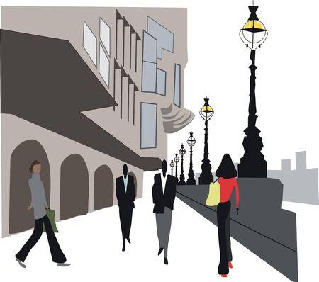 Embankment illustration, London England Stock Vector - 7636534