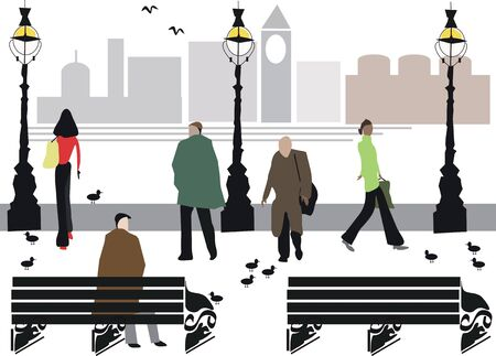 riverside: London Embankment pedestrian illustration