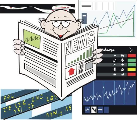 Investor reading newspaper cartoon Stock Vector - 7646264