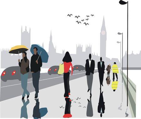 city of westminster: London bridge pedestrians illustration Illustration