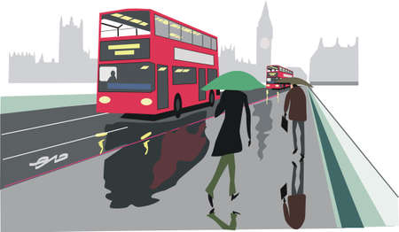foggy: Red London bus illustration