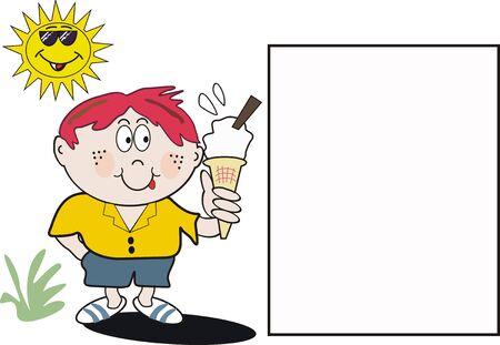 introducing: Ni�o comer helado de caricatura  Vectores