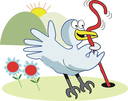ver de terre cartoon: Oiseau pr�coce de la caricature de ver