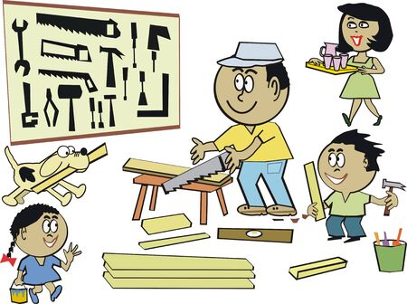 sawing: Family home workshop cartoon