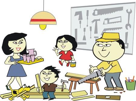 asian family: Happy family workshop cartoon
