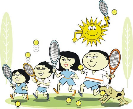 familia asiatica: Dibujos animados de la familia de tenis