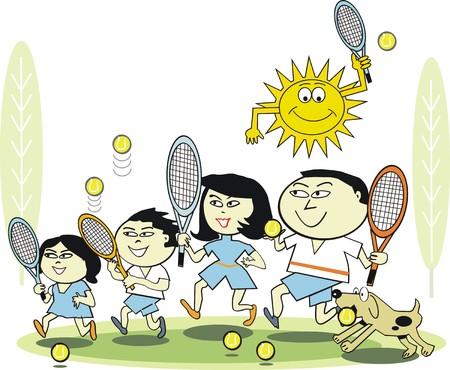 asian family: Family tennis cartoon