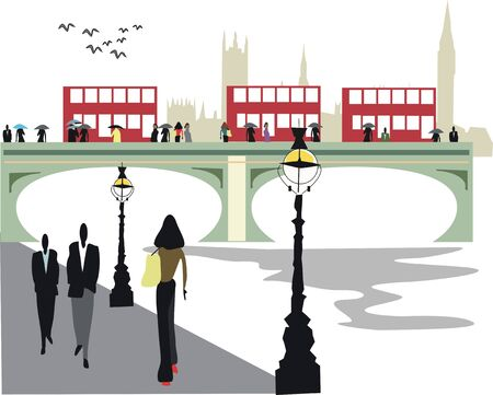 thames: London city buses illustration Illustration