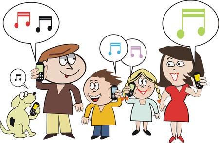 donna con telefono: Famiglia cellulare cartoon Vettoriali