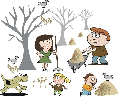 autumn woman: Happy family gardening cartoon Illustration