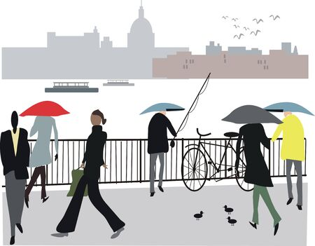 hazy: London river Thames illustration