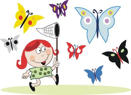 Girl chasing butterflies cartoon Vector