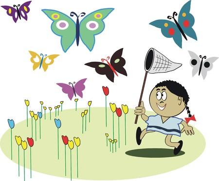american butterflies: African American girl with butterflies cartoon