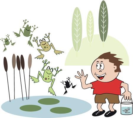 tadpole: Boy with jumping frogs cartoon Illustration