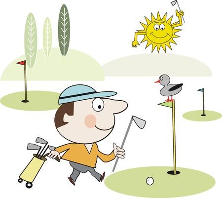arboles de caricatura: Caricatura de jugador de golf