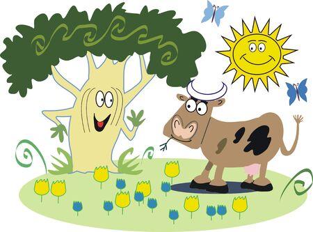 Happy cow cartoon Stock Vector - 7778296
