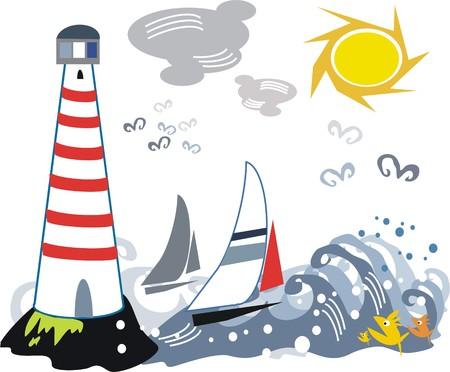 LIghthouse and yacht cartoon Stock Vector - 7778304