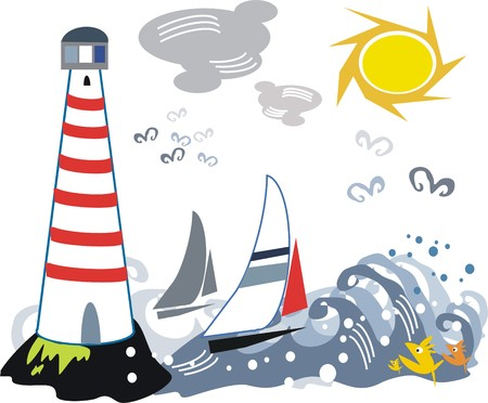 ocean storm: LIghthouse and yacht cartoon
