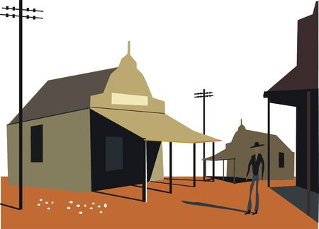 telephone pole: Outback Australia illustration