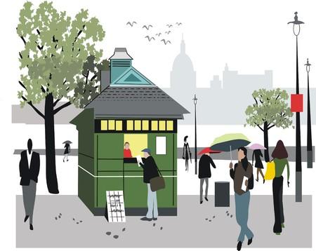 oude krant: Londen Nieuws kiosk illustratie  Stock Illustratie
