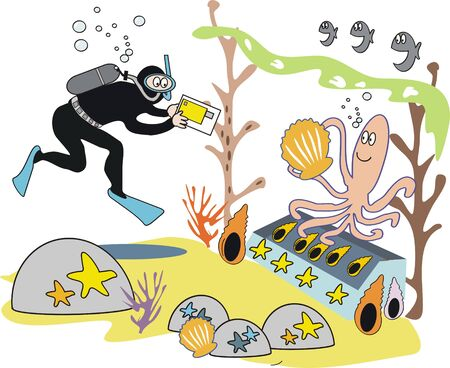 skin diving: Photographing octopus cartoon