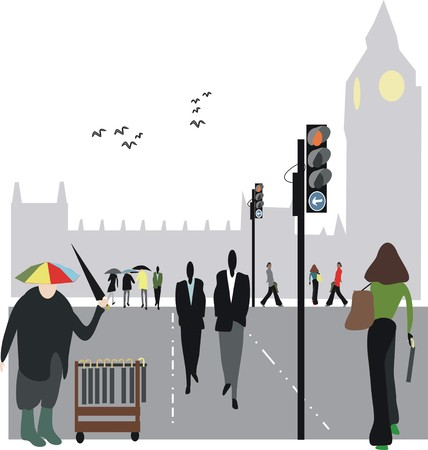 street vendor: London city street illustration Illustration