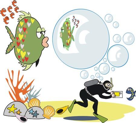 Fish bubble cartoon Illustration