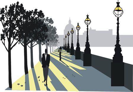London early morning illustration
