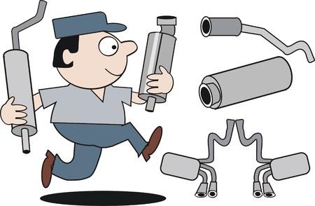 muffler: Running mechanic cartoon