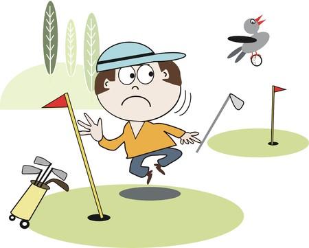 unhappy man: Golfing cartoon